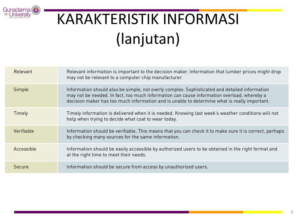 KARAKTERISTIK INFORMASI (lanjutan) 6