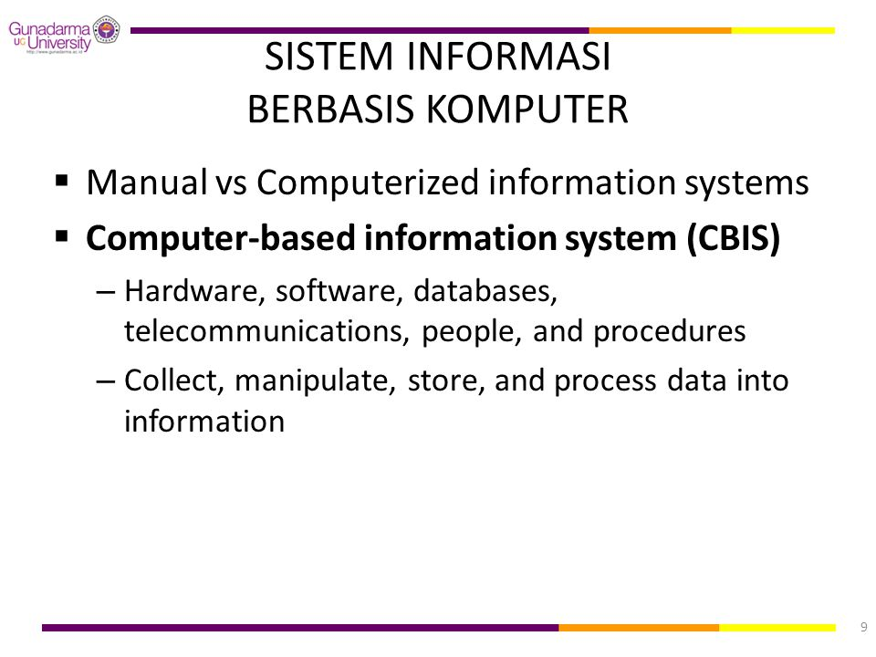 SISTEM INFORMASI BERBASIS KOMPUTER  Manual vs Computerized information systems  Computer-based information system (CBIS) – Hardware, software, datab