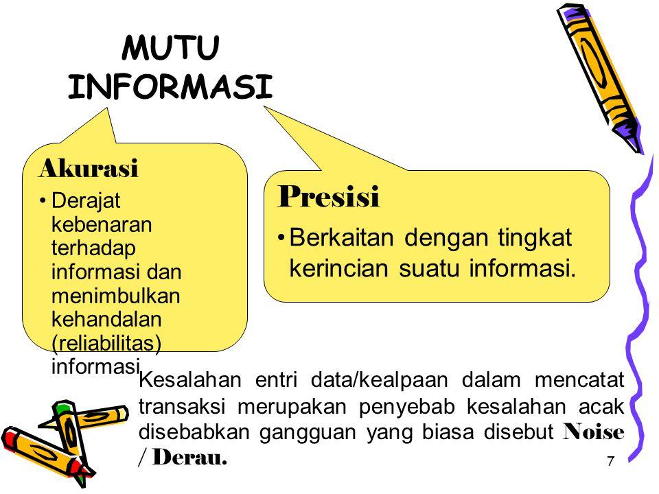 7 MUTU INFORMASI Akurasi Derajat kebenaran terhadap informasi dan menimbulkan kehandalan (reliabilitas) informasi Presisi Berkaitan dengan tingkat kerincian suatu informasi.