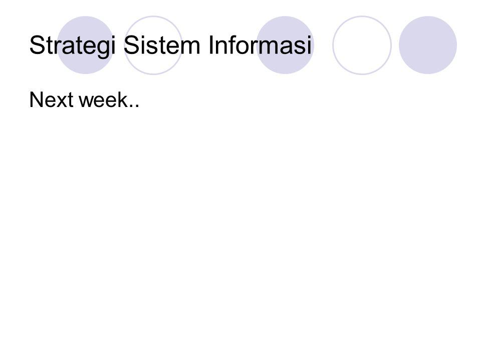 Strategi Sistem Informasi Next week..
