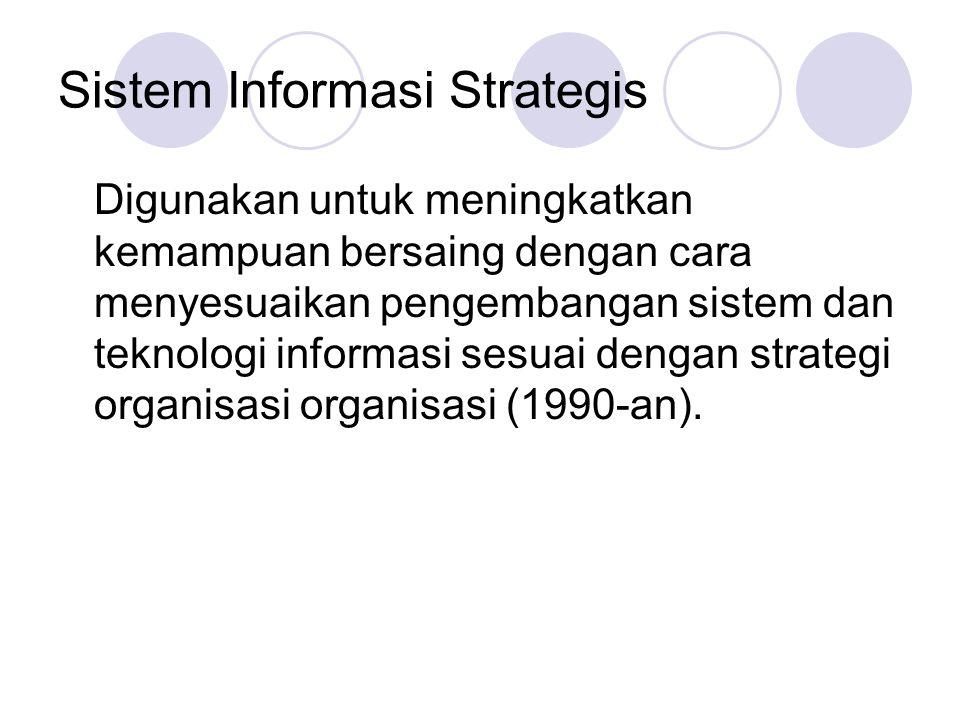 Sistem Informasi Strategis Digunakan untuk meningkatkan kemampuan bersaing dengan cara menyesuaikan pengembangan sistem dan teknologi informasi sesuai