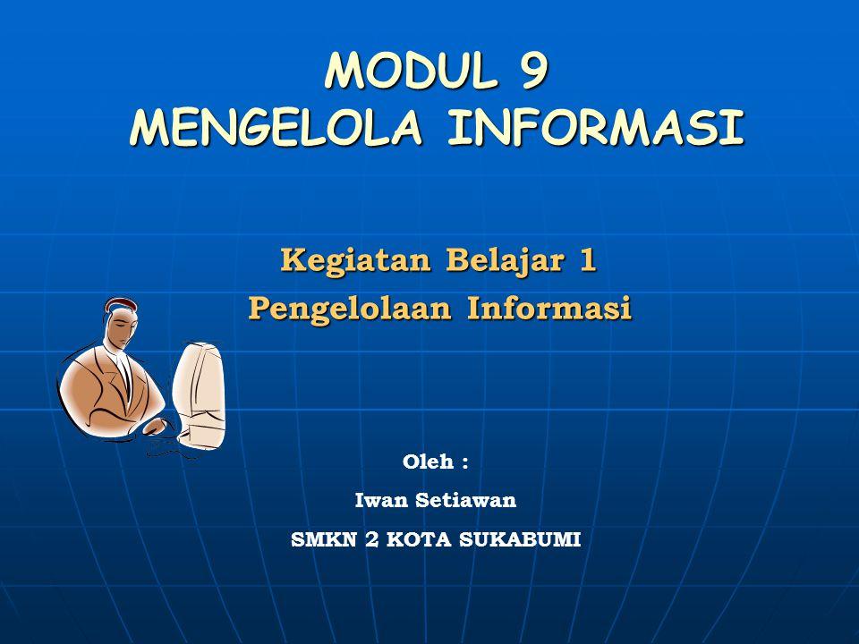 MODUL 9 MENGELOLA INFORMASI Kegiatan Belajar 1 Pengelolaan Informasi Oleh : Iwan Setiawan SMKN 2 KOTA SUKABUMI