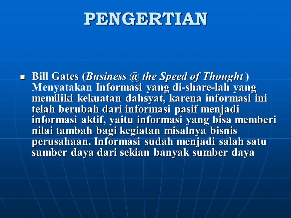 PENGERTIAN Bill Gates (Business @ the Speed of Thought Informasi yang di-share-lah yang memiliki kekuatan dahsyat, karena informasi ini telah berubah