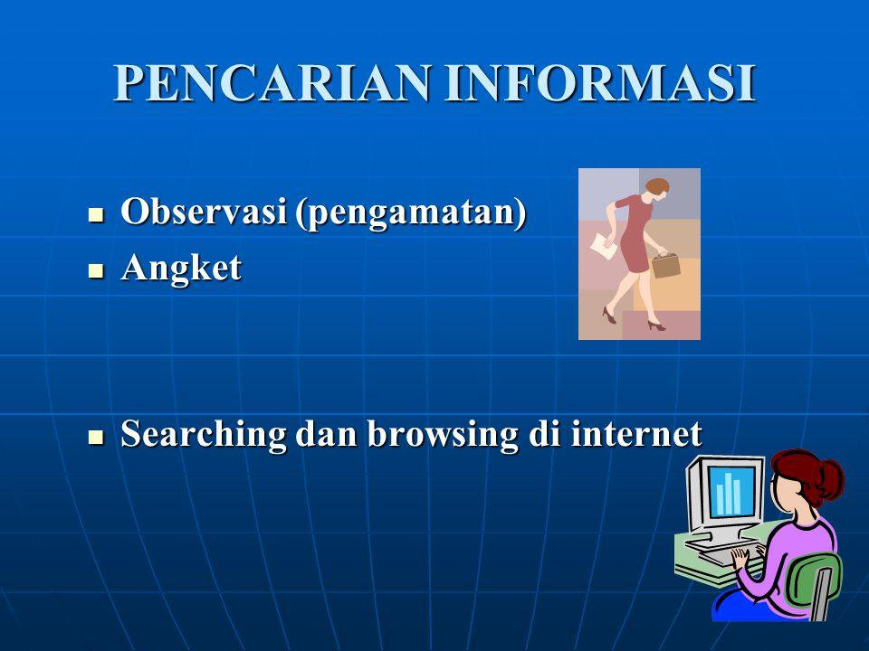 PENCARIAN INFORMASI Observasi (pengamatan) Observasi (pengamatan) Angket Angket Searching dan browsing di internet Searching dan browsing di internet