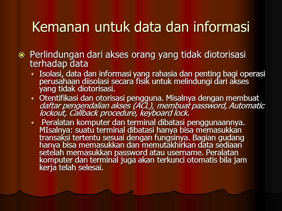 Kemanan untuk data dan informasi  Perlindungan dari akses orang yang tidak diotorisasi terhadap data Isolasi, data dan informasi yang rahasia dan pen