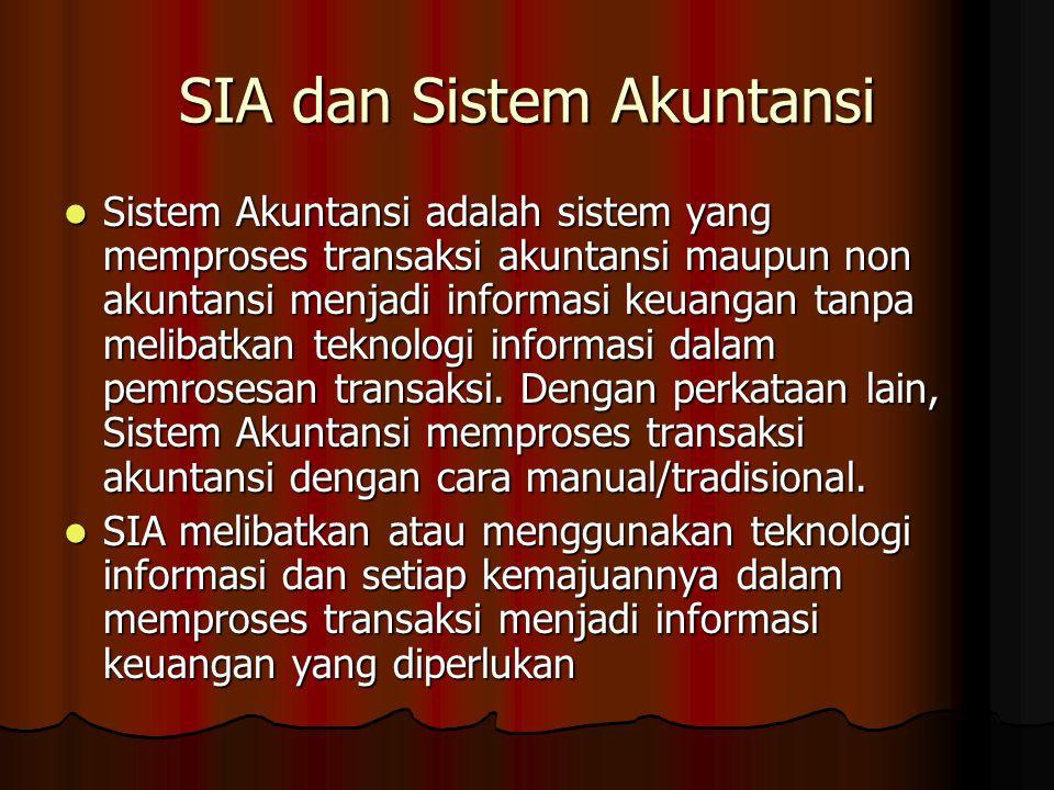 SIA dan Sistem Akuntansi Sistem Akuntansi adalah sistem yang memproses transaksi akuntansi maupun non akuntansi menjadi informasi keuangan tanpa melib