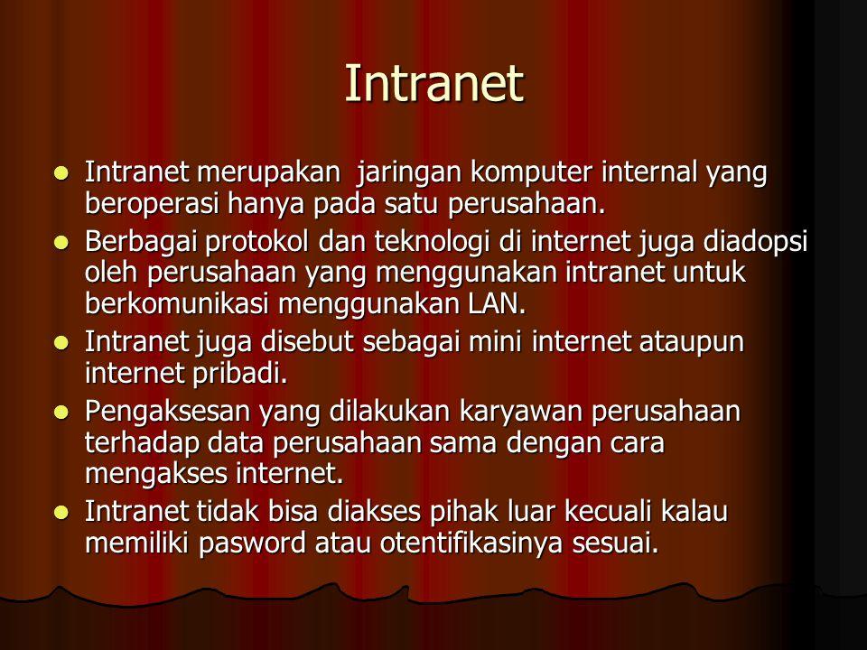 Intranet Intranet merupakan jaringan komputer internal yang beroperasi hanya pada satu perusahaan. Intranet merupakan jaringan komputer internal yang