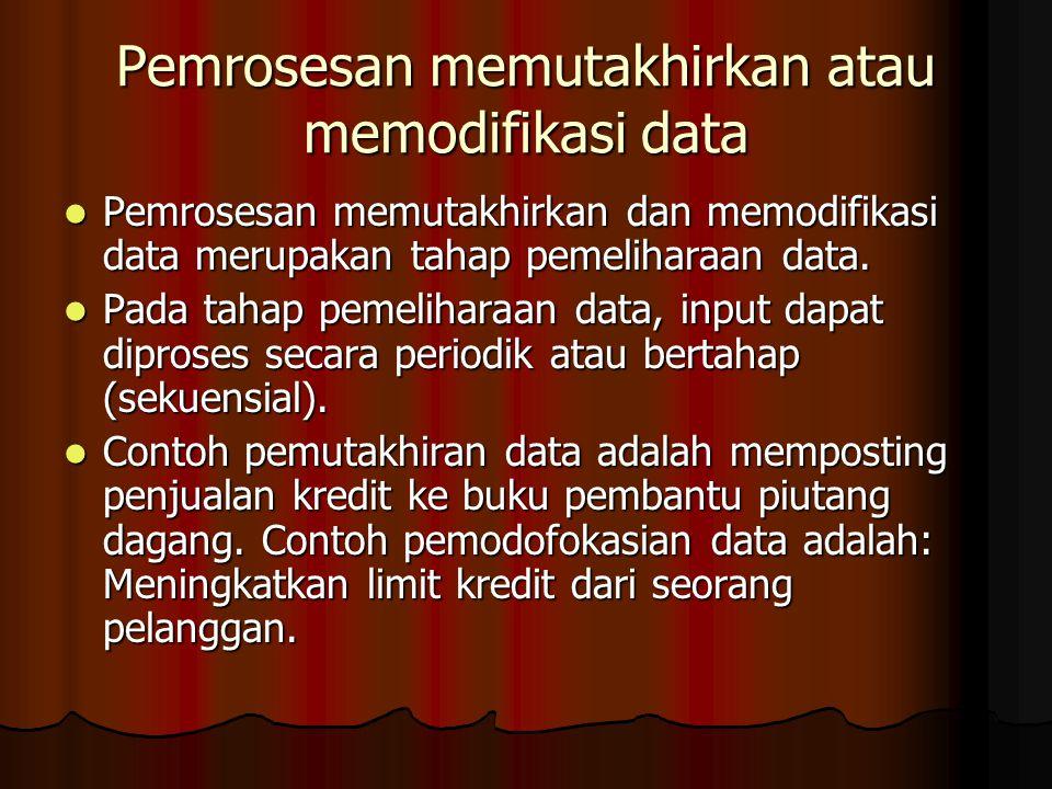 Pemrosesan memutakhirkan atau memodifikasi data Pemrosesan memutakhirkan dan memodifikasi data merupakan tahap pemeliharaan data. Pemrosesan memutakhi