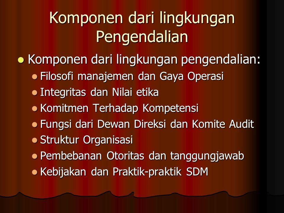 Komponen dari lingkungan Pengendalian Komponen dari lingkungan pengendalian: Komponen dari lingkungan pengendalian: Filosofi manajemen dan Gaya Operas