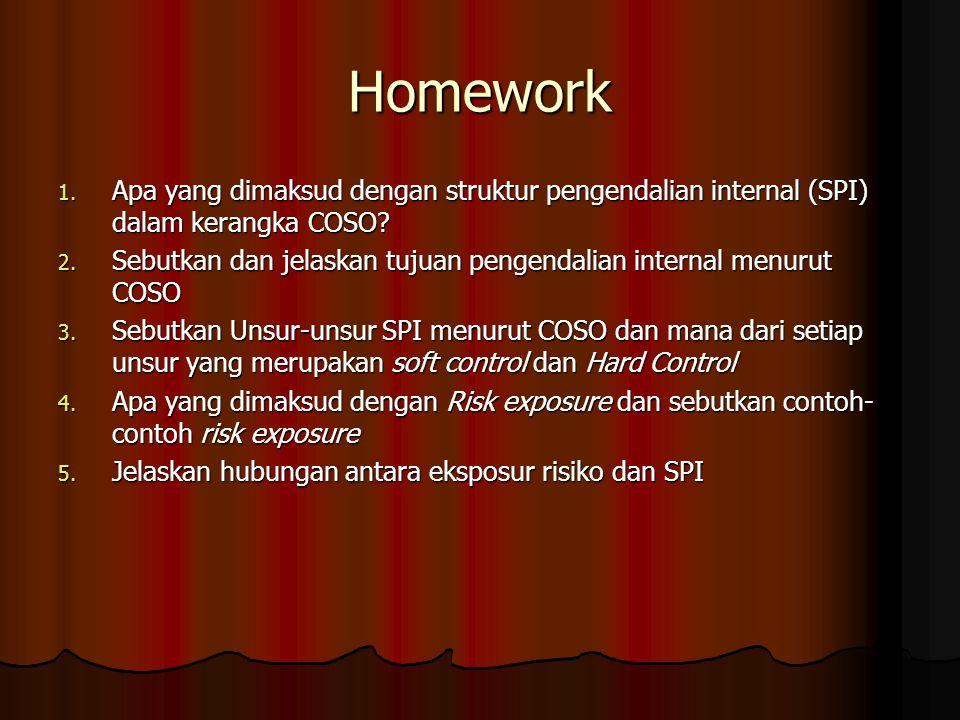 Homework 1. Apa yang dimaksud dengan struktur pengendalian internal (SPI) dalam kerangka COSO? 2. Sebutkan dan jelaskan tujuan pengendalian internal m
