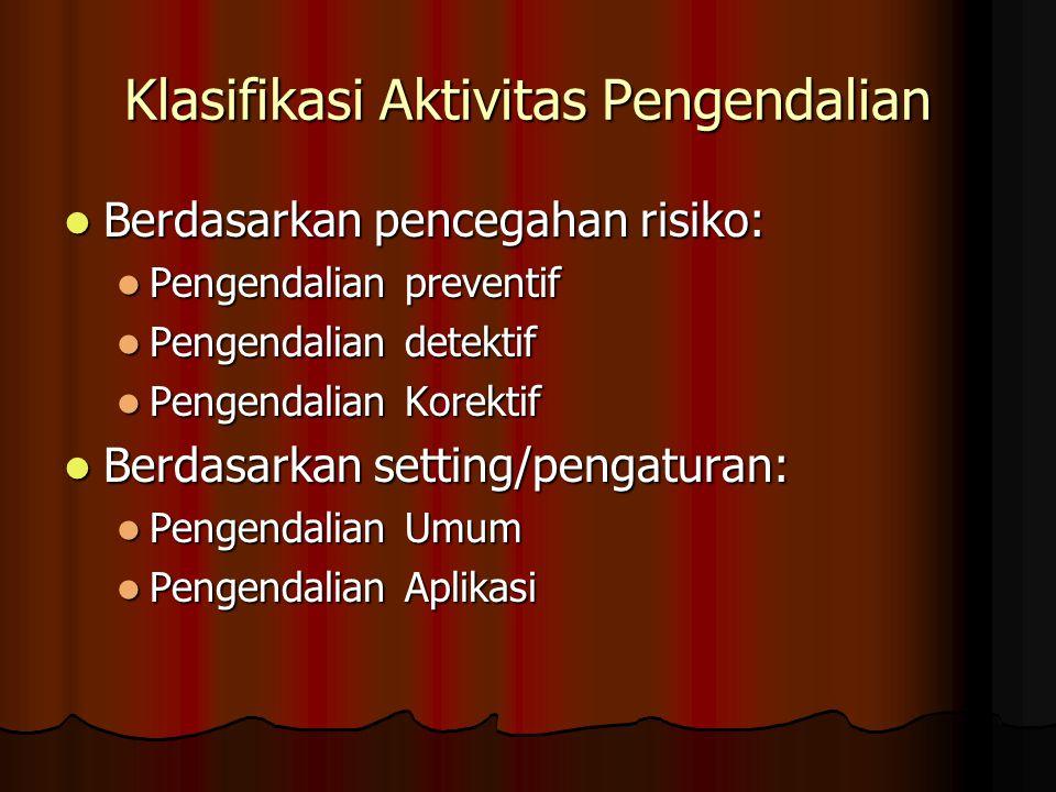 Klasifikasi Aktivitas Pengendalian Berdasarkan pencegahan risiko: Berdasarkan pencegahan risiko: Pengendalian preventif Pengendalian preventif Pengend