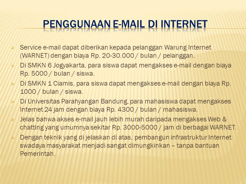  Service e-mail dapat diberikan kepada pelanggan Warung Internet (WARNET) dengan biaya Rp.