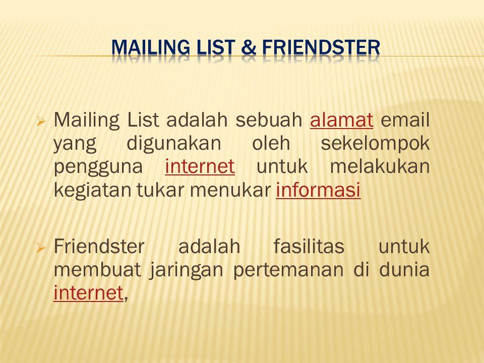  Mailing List adalah sebuah alamat email yang digunakan oleh sekelompok pengguna internet untuk melakukan kegiatan tukar menukar informasialamatinternetinformasi  Friendster adalah fasilitas untuk membuat jaringan pertemanan di dunia internet, internet