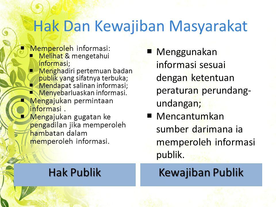Hak Dan Kewajiban Masyarakat Hak Publik Kewajiban Publik  Memperoleh informasi:  Melihat & mengetahui informasi;  Menghadiri pertemuan badan publik yang sifatnya terbuka;  Mendapat salinan informasi;  Menyebarluaskan informasi.