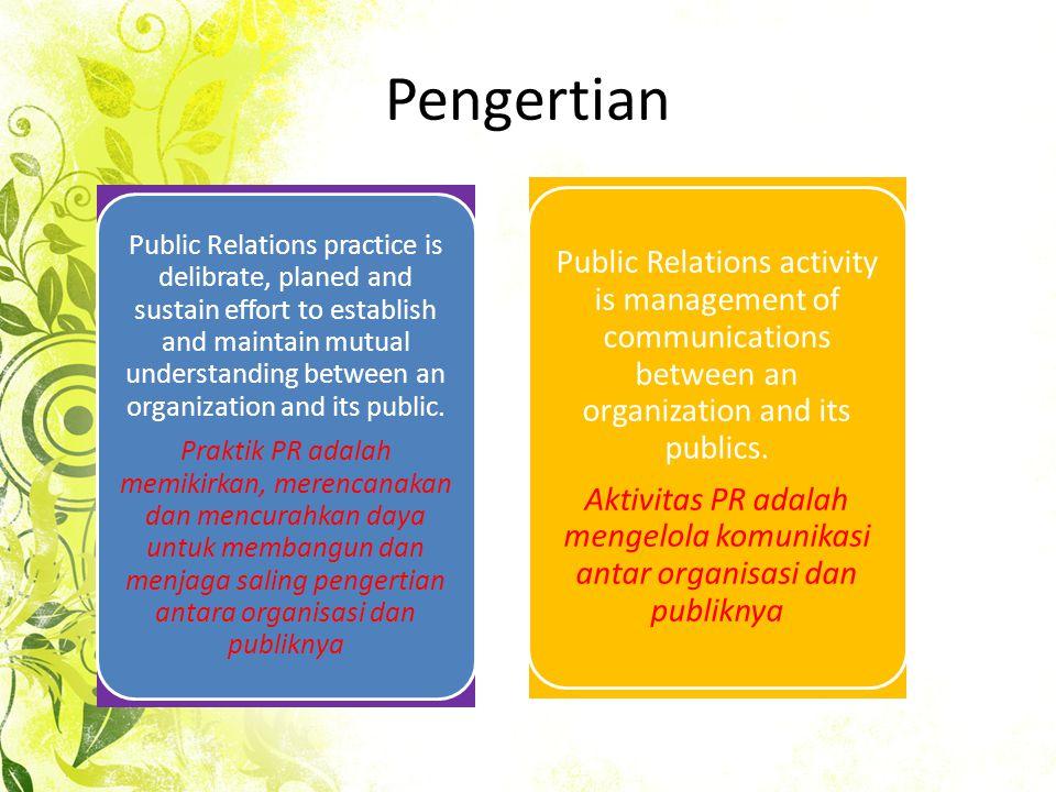 Pengertian IPRA (International Public Relations Associaton) humas adalah fungsi manajemen dari ciri yang terencana dan berkelanjutan melalui organisasi dan lembaga swasta atau publik untuk memperoleh pengertian, simpati, dan dukungan dari mereka yang terkait atau mungkin ada hubungannya dengan penelitian opini public di antara mereka.