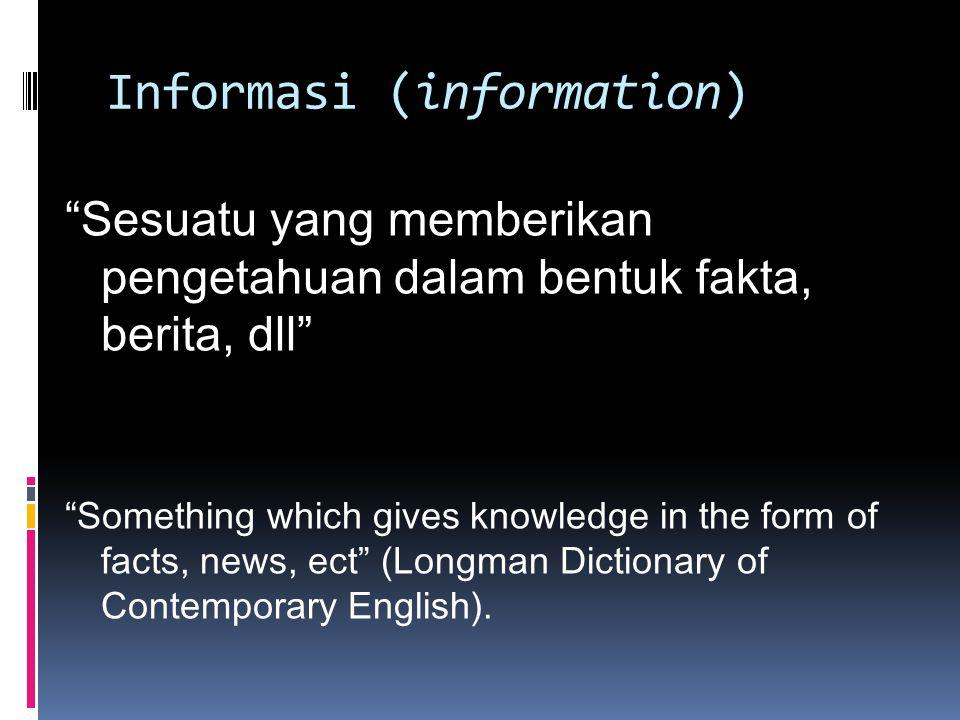 lanjutan Informasi adalah setiap konten yang mengurangi ketidakpastian atau jumlah kemungkinan dalam suatu situasi Information is any content that reduces uncertainty or the number of possibilities in a situation (McGarry, K.J.