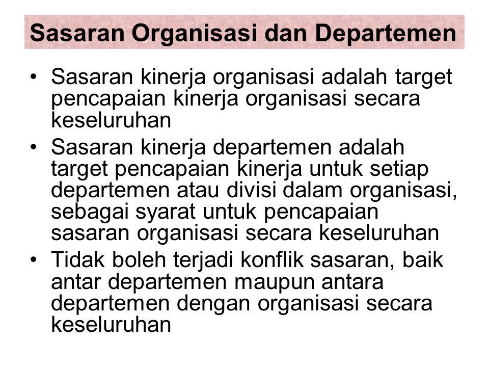 Sasaran Organisasi dan Departemen Sasaran kinerja organisasi adalah target pencapaian kinerja organisasi secara keseluruhan Sasaran kinerja departemen adalah target pencapaian kinerja untuk setiap departemen atau divisi dalam organisasi, sebagai syarat untuk pencapaian sasaran organisasi secara keseluruhan Tidak boleh terjadi konflik sasaran, baik antar departemen maupun antara departemen dengan organisasi secara keseluruhan