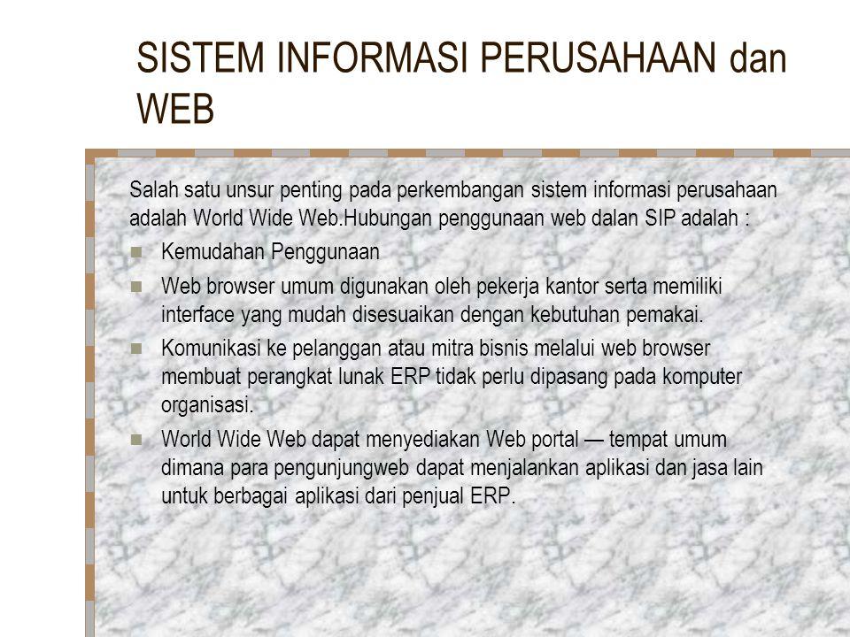 SISTEM INFORMASI PERUSAHAAN dan WEB Salah satu unsur penting pada perkembangan sistem informasi perusahaan adalah World Wide Web.Hubungan penggunaan w