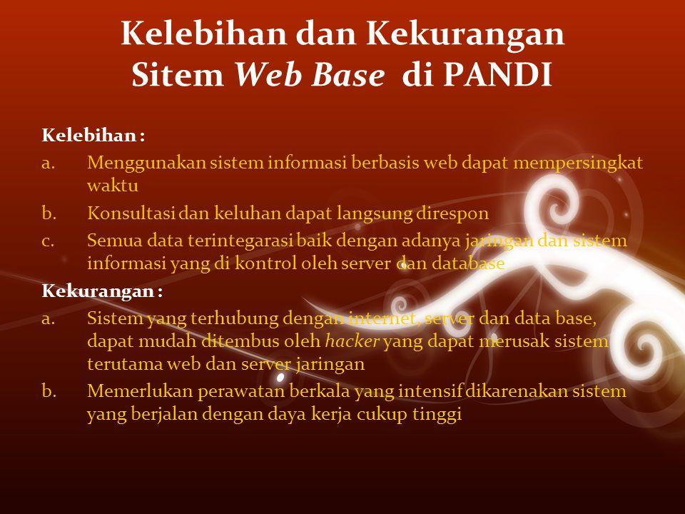 Kelebihan dan Kekurangan Sitem Web Base di PANDI Kelebihan : a.Menggunakan sistem informasi berbasis web dapat mempersingkat waktu b.Konsultasi dan ke