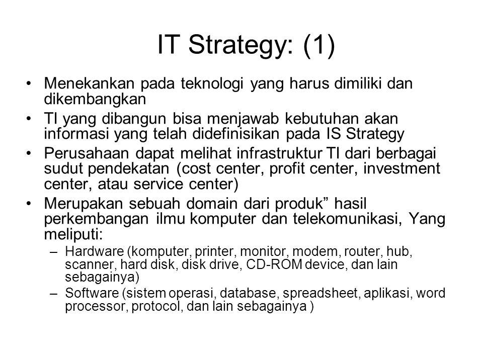 IT Strategy: (2) Alasan perlunya IT Strategi: –Untuk memilih teknologi apa yang akan dibeli dan dimanfaatkan agar dapat dikembangkan SI yang dibutuhkan –Untuk meminimalkan resiko tertentu yang akan menjadi tanggungan perusahaan sehubungan dengan pemilihan suatu teknologi tertentu –Perkembangan TI sedemikian cepatnya  versi baru –Untuk satu jenis produk, terdapat banyak vendor d/ +- kualitas produk dan pelayanan yang dimiliki –Sistem TI terdiri dari ratusan komponen berbeda yang disatu sisi saling independen, sementara di sisi lain memiliki ketergantungan yang sangat tinggi