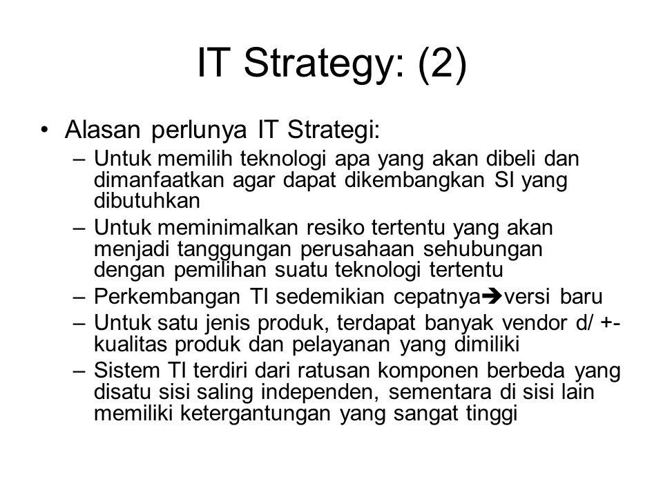 IT Strategy: (2) Alasan perlunya IT Strategi: –Untuk memilih teknologi apa yang akan dibeli dan dimanfaatkan agar dapat dikembangkan SI yang dibutuhka