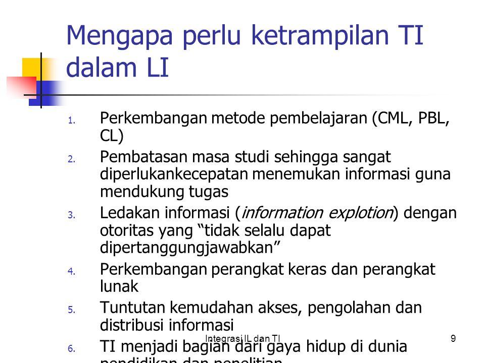 Mengapa perlu ketrampilan TI dalam LI 1.Perkembangan metode pembelajaran (CML, PBL, CL) 2.