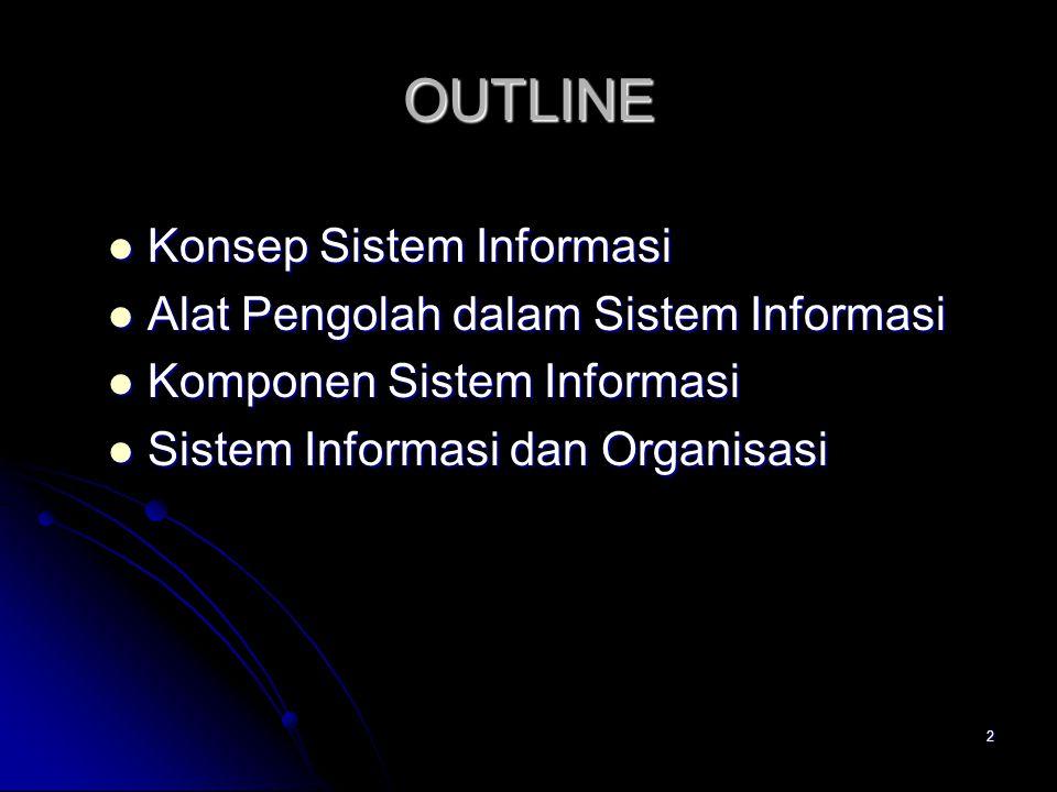 2 OUTLINE Konsep Sistem Informasi Konsep Sistem Informasi Alat Pengolah dalam Sistem Informasi Alat Pengolah dalam Sistem Informasi Komponen Sistem In