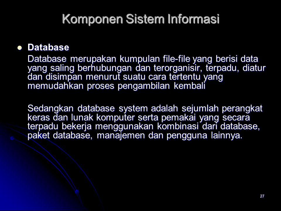 27 Database Database Database merupakan kumpulan file-file yang berisi data yang saling berhubungan dan terorganisir, terpadu, diatur dan disimpan men