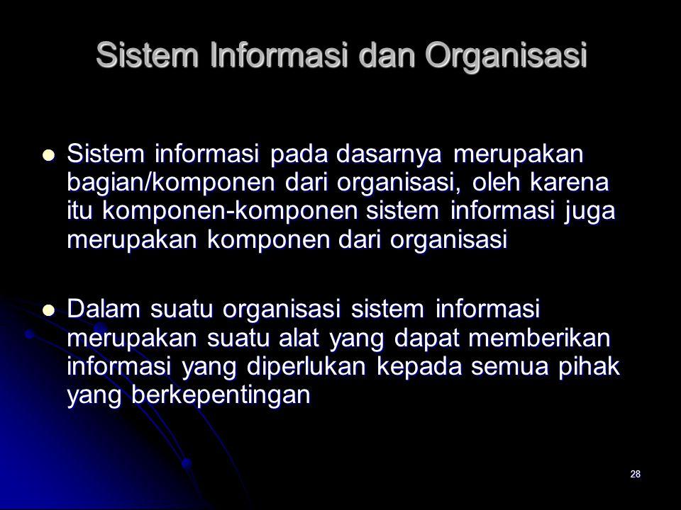 28 Sistem Informasi dan Organisasi Sistem informasi pada dasarnya merupakan bagian/komponen dari organisasi, oleh karena itu komponen-komponen sistem
