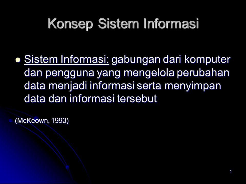 5 Konsep Sistem Informasi Sistem Informasi: gabungan dari komputer dan pengguna yang mengelola perubahan data menjadi informasi serta menyimpan data d