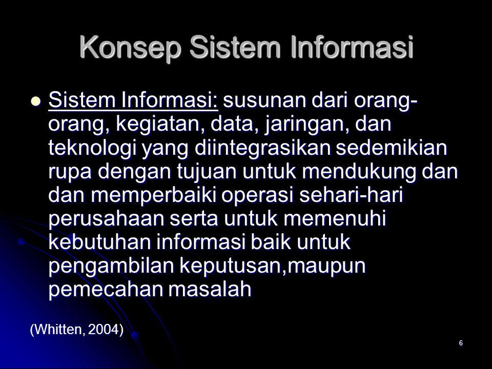 6 Konsep Sistem Informasi Sistem Informasi: susunan dari orang- orang, kegiatan, data, jaringan, dan teknologi yang diintegrasikan sedemikian rupa den
