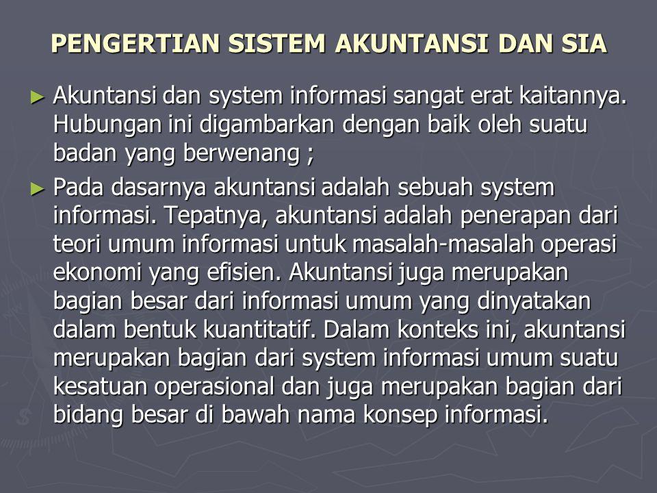 PENGERTIAN SISTEM AKUNTANSI DAN SIA ► Akuntansi dan system informasi sangat erat kaitannya. Hubungan ini digambarkan dengan baik oleh suatu badan yang