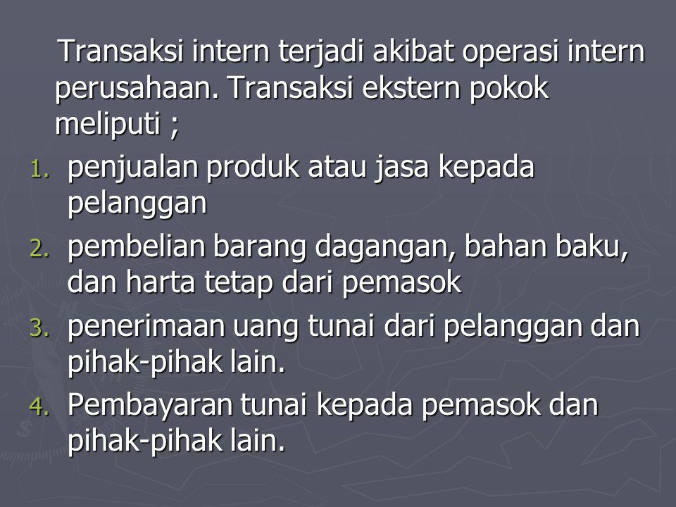 Transaksi intern terjadi akibat operasi intern perusahaan. Transaksi ekstern pokok meliputi ; Transaksi intern terjadi akibat operasi intern perusahaa