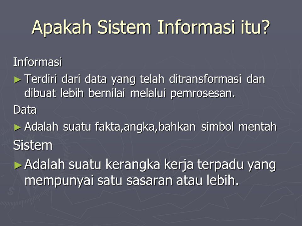 Apakah Sistem Informasi itu? Informasi ► Terdiri dari data yang telah ditransformasi dan dibuat lebih bernilai melalui pemrosesan. Data ► Adalah suatu