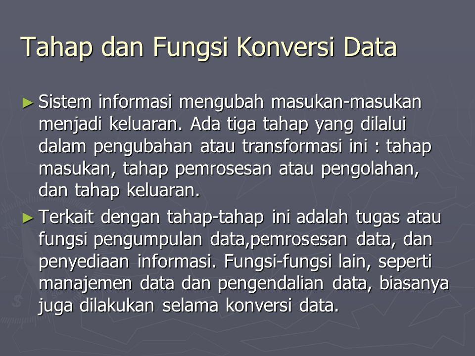 Tahap dan Fungsi Konversi Data ► Sistem informasi mengubah masukan-masukan menjadi keluaran. Ada tiga tahap yang dilalui dalam pengubahan atau transfo