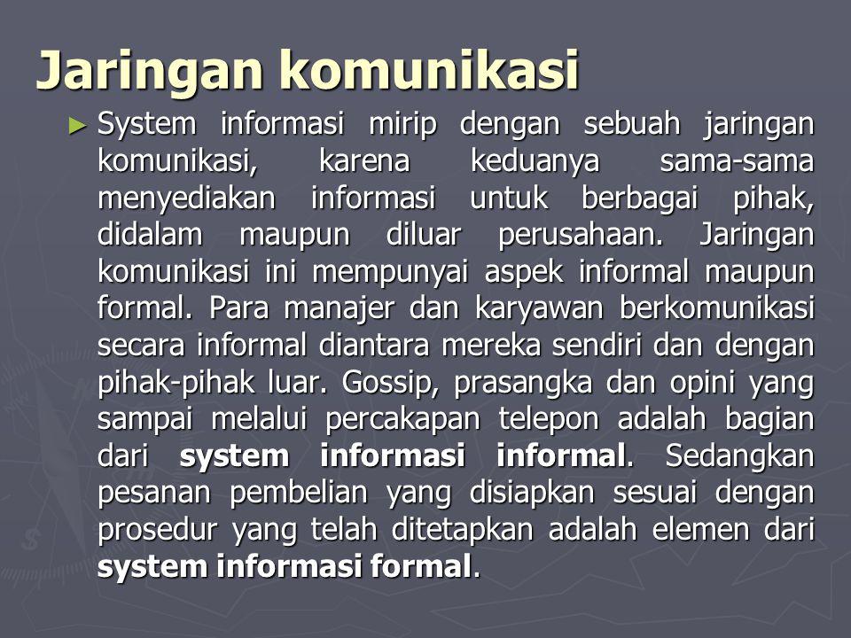 Jaringan komunikasi ► System informasi mirip dengan sebuah jaringan komunikasi, karena keduanya sama-sama menyediakan informasi untuk berbagai pihak,