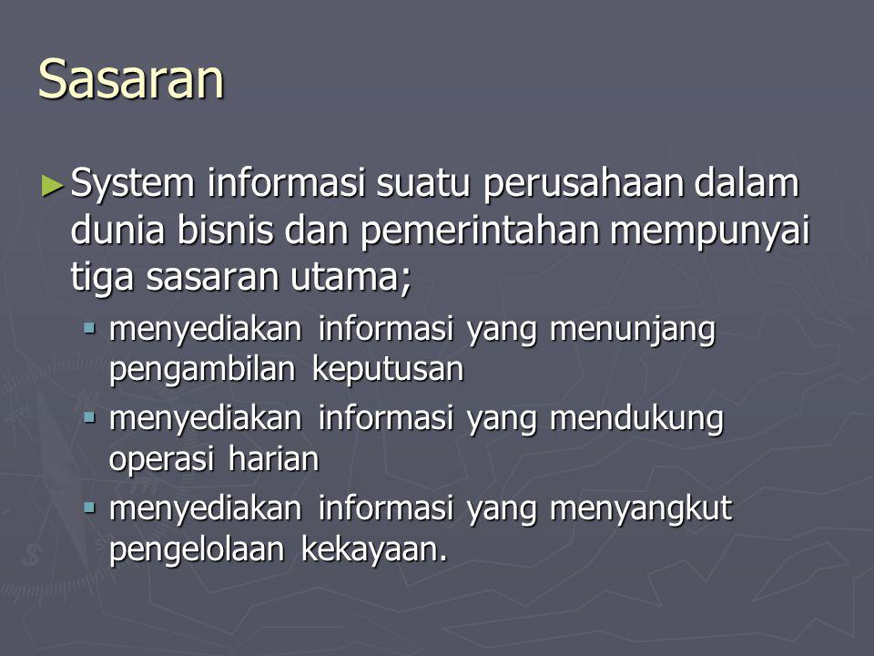 Sasaran ► System informasi suatu perusahaan dalam dunia bisnis dan pemerintahan mempunyai tiga sasaran utama;  menyediakan informasi yang menunjang p