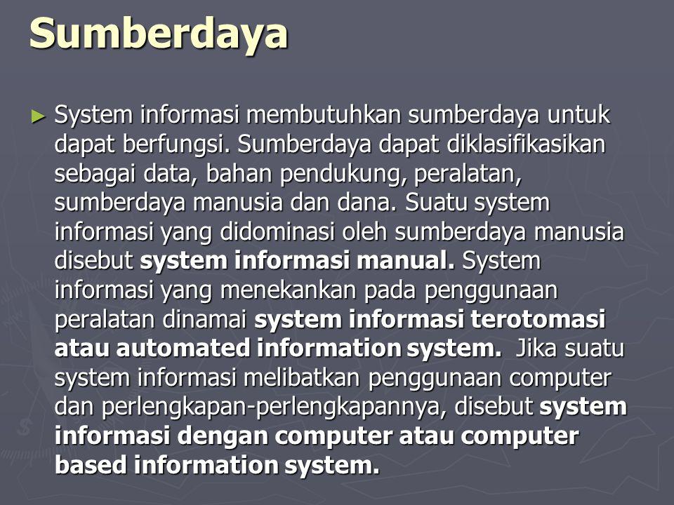 Sumberdaya ► System informasi membutuhkan sumberdaya untuk dapat berfungsi. Sumberdaya dapat diklasifikasikan sebagai data, bahan pendukung, peralatan