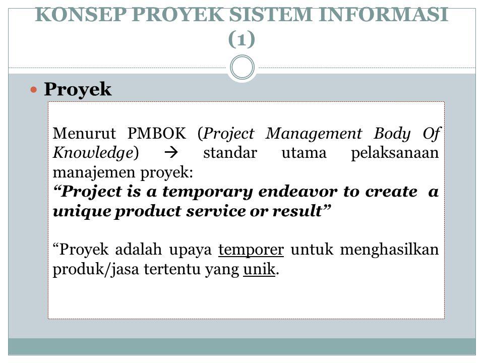 """KONSEP PROYEK SISTEM INFORMASI (1) Proyek Menurut PMBOK (Project Management Body Of Knowledge)  standar utama pelaksanaan manajemen proyek: """"Project"""
