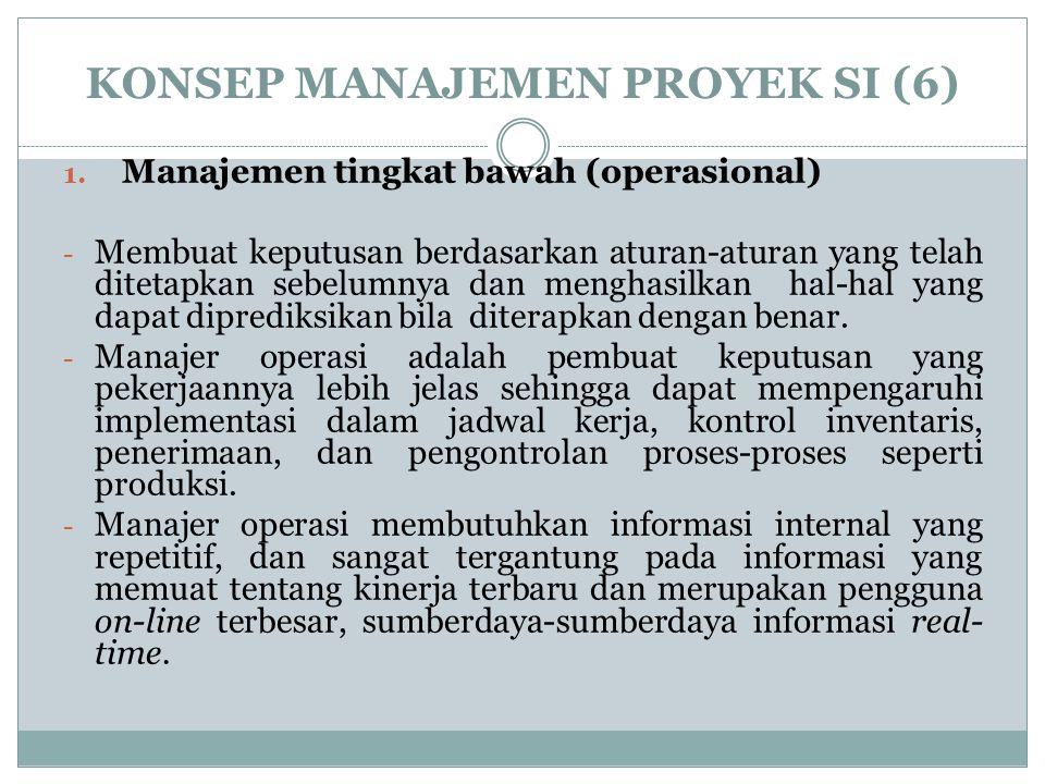 KONSEP MANAJEMEN PROYEK SI (6) 1. Manajemen tingkat bawah (operasional) - Membuat keputusan berdasarkan aturan-aturan yang telah ditetapkan sebelumnya