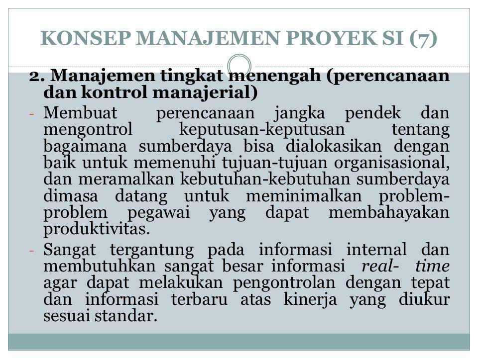 KONSEP MANAJEMEN PROYEK SI (7) 2. Manajemen tingkat menengah (perencanaan dan kontrol manajerial) - Membuat perencanaan jangka pendek dan mengontrol k