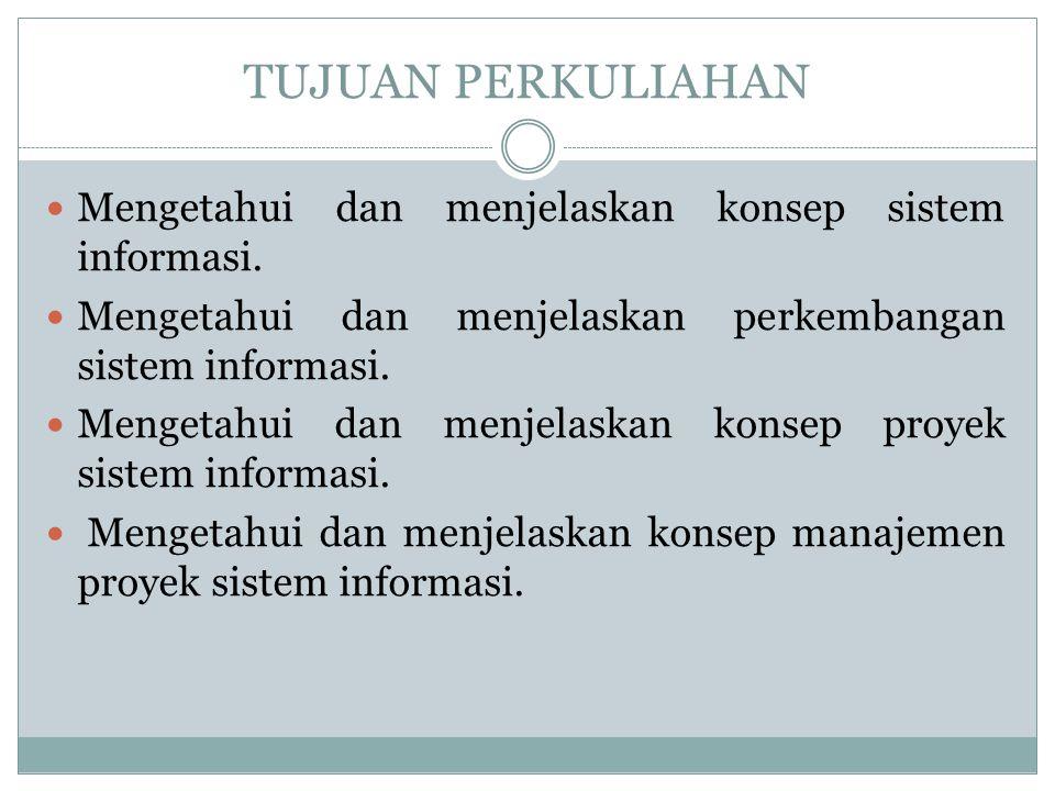 TUJUAN PERKULIAHAN Mengetahui dan menjelaskan konsep sistem informasi. Mengetahui dan menjelaskan perkembangan sistem informasi. Mengetahui dan menjel