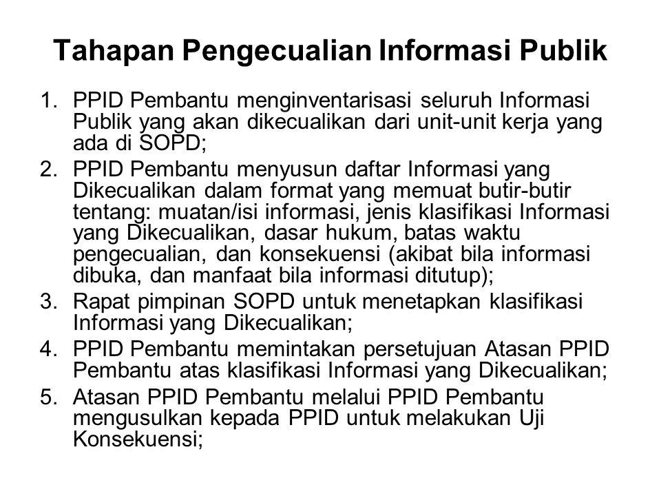 Tahapan Pengecualian Informasi Publik 1.PPID Pembantu menginventarisasi seluruh Informasi Publik yang akan dikecualikan dari unit-unit kerja yang ada