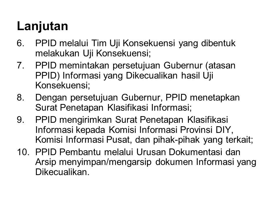 Lanjutan 6.PPID melalui Tim Uji Konsekuensi yang dibentuk melakukan Uji Konsekuensi; 7.PPID memintakan persetujuan Gubernur (atasan PPID) Informasi ya
