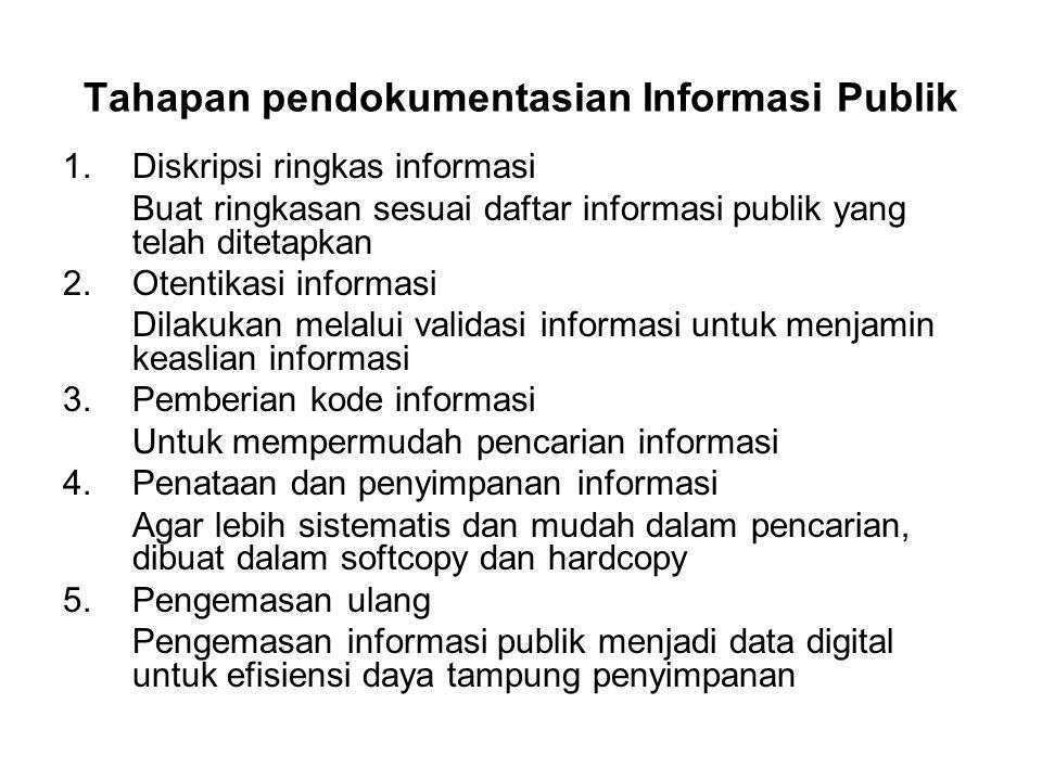Tahapan pendokumentasian Informasi Publik 1.Diskripsi ringkas informasi Buat ringkasan sesuai daftar informasi publik yang telah ditetapkan 2.Otentika