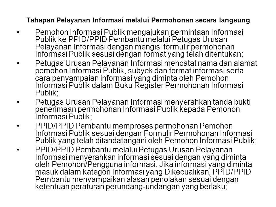 Tahapan Pelayanan Informasi melalui Permohonan secara langsung Pemohon Informasi Publik mengajukan permintaan Informasi Publik ke PPID/PPID Pembantu m