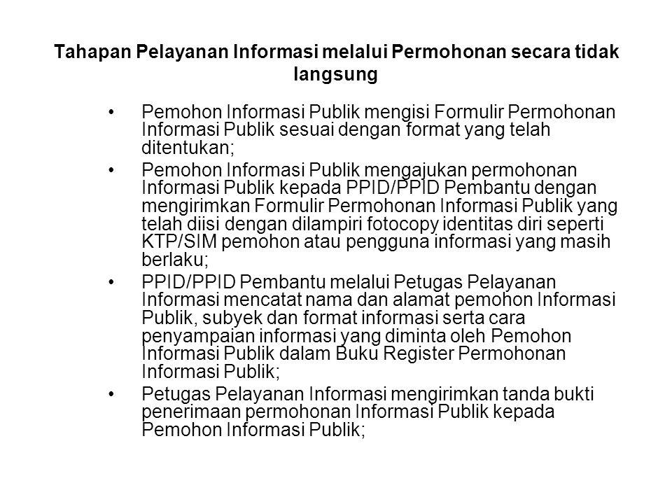 Tahapan Pelayanan Informasi melalui Permohonan secara tidak langsung Pemohon Informasi Publik mengisi Formulir Permohonan Informasi Publik sesuai deng