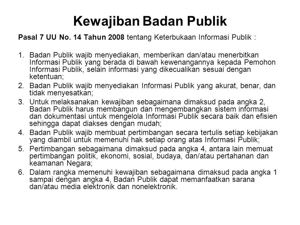Kewajiban Badan Publik Pasal 7 UU No. 14 Tahun 2008 tentang Keterbukaan Informasi Publik : 1.Badan Publik wajib menyediakan, memberikan dan/atau mener