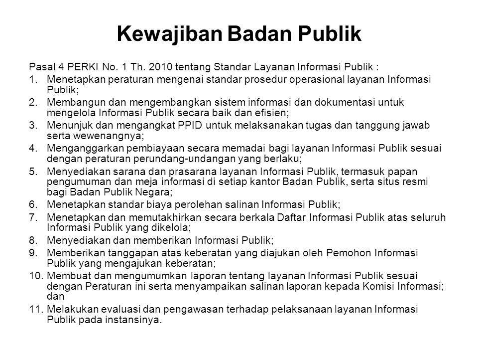 Kewajiban Badan Publik Pasal 4 PERKI No. 1 Th. 2010 tentang Standar Layanan Informasi Publik : 1.Menetapkan peraturan mengenai standar prosedur operas