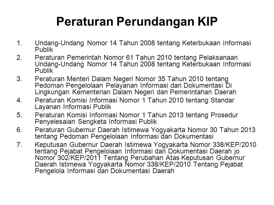 Peraturan Perundangan KIP 1.Undang-Undang Nomor 14 Tahun 2008 tentang Keterbukaan Informasi Publik 2.Peraturan Pemerintah Nomor 61 Tahun 2010 tentang